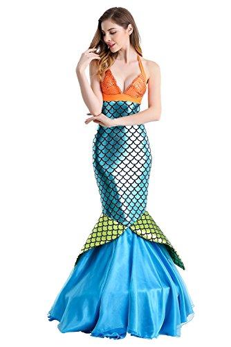 (Beutyshop Damen Sexy Meerjungfrau Faschingskostüm,Nixe Mädchenkostüm Mermaid Faschingskostüm Seejungfrau Karnevalskostüm Nymphe Meerjungfrauenkostüm Mädchen Meerjungfrau Kostüm)