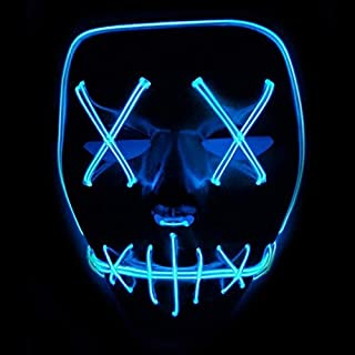 Queta Halloween Maske LED Light EL Wire Cosplay Maske Purge Mask für Festival Cosplay Halloween Kostüm (Blu)
