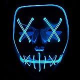 Queta Halloween Maske LED Light EL Wire Cosplay Maske Purge Mask für Festival Cosplay Halloween Kostüm (Blu)
