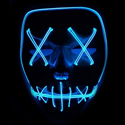 (Queta Halloween Maske LED Light EL Wire Cosplay Maske Purge Mask für Festival Cosplay Halloween Kostüm (Blu))