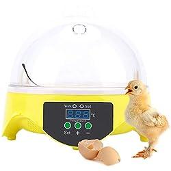 GBYNB Incubadora de máquinas para incubación de Aves de Corral 7 incubadora pequeña incubadora de crías de Huevos de Ave de Pollo para Pato Loro Pato,Yellow,18 * 18 * 17cm