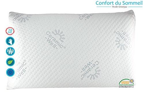 Confort du Sommeil - Oreiller Céramique à Mémoire de forme 60x40cm avec housse fibres biocéramiques intégrant des ions d'argent – ANTI-BACTÉRIEN - Mousse 100% viscoélastique