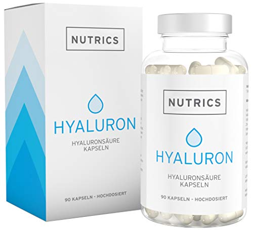 Nutrics | Hyaluronsäure + Kollagen | 90 Kapseln Hochdosiert | 300 + 300mg | Beauty & Protection - Made in Germany