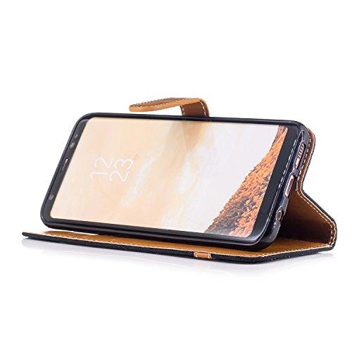 Hülle für Samsung Galaxy S8, Tasche für Samsung Galaxy S8, Case Cover für Samsung Galaxy S8, ISAKEN Farbig Blank Muster Folio PU Leder Flip Cover Brieftasche Geldbörse Wallet Case Ledertasche Handyhül Leinen Schwarz