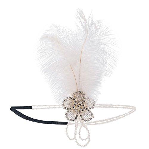 1920S Stirnband Kopfschmuck 20er Jahre Damen Haarband Silber Weiß Blumen Muster Rundes Perlen Flapper Great Gatsby Restro-Stil Kostüm Accessoires Feder Elegant Schick Party Tanzabend Geschenk Deko