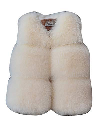 ShiFan Ragazza Gilet di Pelliccia Sintetica Cappotto Senza Maniche Giacchetto Giubbotto Breve Giacca Beige 120