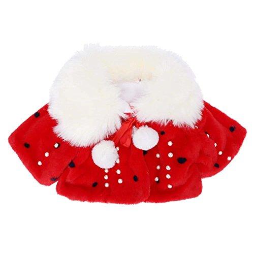 Domybest Baby Mädchen Winter Faux Pelz Perle Samt Mantel Mantel Schal Nette Prinzessin Anzug(Rot 0-3M)