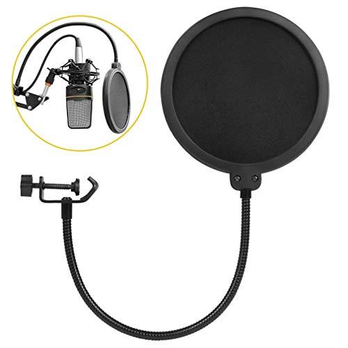 JIQHB 6 Zoll Clamp On Mikrofon Pop Filter Studio Doppelschicht Runde Form Mic Wind Mask Shield Bildschirm Sprühen Bewachen -