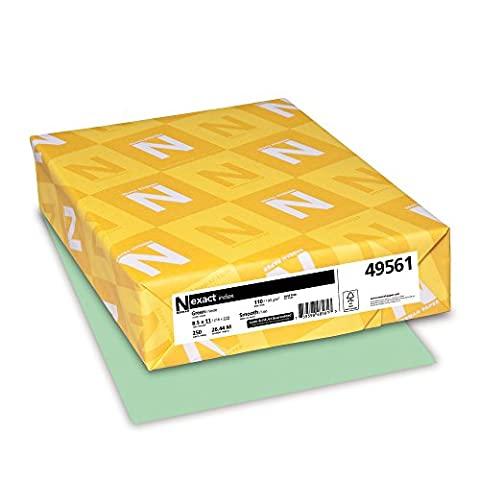 Exact Index Card Stock, 110 lbs., 8-1/2 x 11, Green, 250 Sheets/Pack, Sold as 1 Package