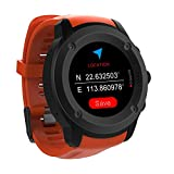 Men Women Sports GPS WatchTouch Screen GPS Running Watches Wrist Heart Rate Monitor Outdoor Navigation With GPS Location for Running Cycling and Walking Indoor/Outdoor Sport (Orange With Balck Dial)