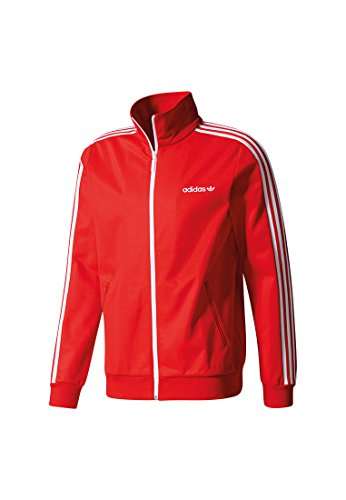 adidas Herren Beckenbauer Jacke, Bianco Vivid Red