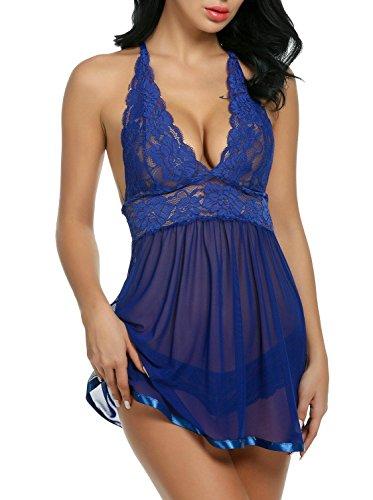 ADOME Spitze Negligee V-Ausschnitt Babydoll Lingerie Öffnen Zurück Nachtwäsche Kleid Dessous Unterwäsche für Damen mit Panties , farbe - Blau , Gr. EU L