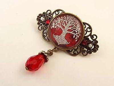 Petite pince à cheveux avec arbre noeud celtique rouge bronze