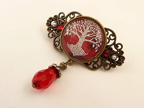 Kleine Haarspange mit Baum keltische Knoten rot bronze