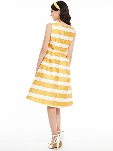 Clocolor Damen Sommerkleid Satin Rundhals A-Linie Ärmellose Knielänge Tageskleid Büro Sommer Farbe Block Streifen Bekleidung Gelb Weiß