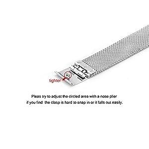 BEWISH Uhrenarmbänder Maschendraht Edelstahl Milanese Ersatzband Metall Uhrarmband Faltschließe Uhr Band Schnalle Wechselarmband Uhr Armband Smart Watch Wrist Strap Band Replacement Uhrmacherwerkzeug