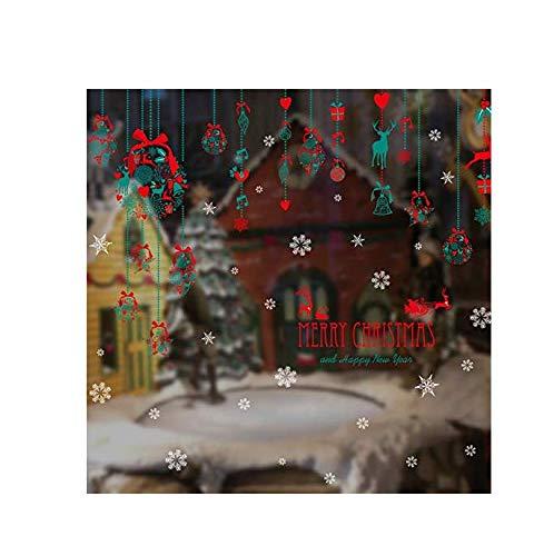 Preisvergleich Produktbild 3D Wandaufkleber Aufkleber Wandtattoo Kinderweihnachten Hängende Wandaufkleber Heiligabend Schaufensterdekorationaufkleber Glastüraufkleber Kreative Aufkleber 200 * 120 Cm
