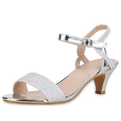 SCARPE VITA Damen Riemchensandaletten Metallic Sandaletten Abendschuhe Elegant 176646 Silber 38