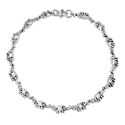 Multi Lucky Elefante encanto pulsera para el tobillo Tobillera plata esterlina estilo...