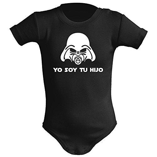 Body bebé unisex Yo soy tu hijo (Star wars/Darth Vader - Yo soy tu padre - parodia). Regalo original. Body bebé divertido. Manga corta. (Negro, 3 meses)