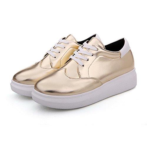 Golden Schnüren Absatz Pumps Rund Weiches Agoolar Damen Niedriger Rein Schuhe Zehe Material Pq0O0nH