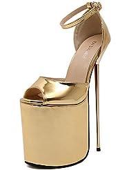 LvYuan-ggx Zapatos de mujer-Tac¨®n Stiletto-Punta Abierta / Plataforma / Confort-Tacones-Vestido / Fiesta y Noche-PU-Negro / Rojo / Plata / Oro / , golden-us8.5 / eu39 / uk6.5 / cn40 , golden-us8.5 / eu39 / uk6.5 / cn40
