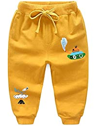 Hopscotch Unisex Cotton Elasticated Joggers in Yellow Color