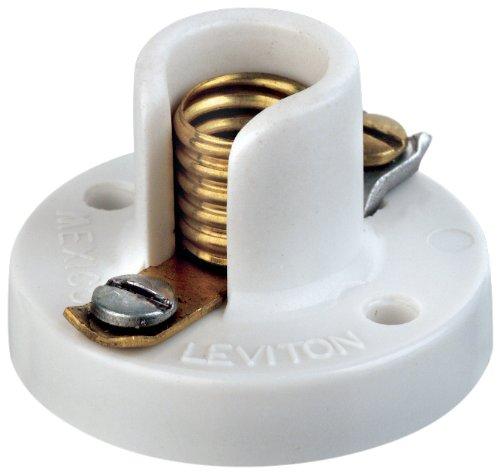 Leviton 10020 Miniature Base, One-Piece, Keyless, Incandescent, Urea Lampholder, Pony Cleat, Single Circuit, Open Terminal, White by Leviton -