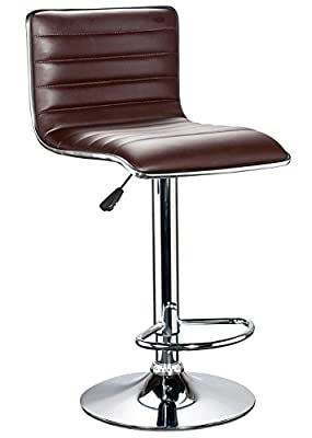 Vivo© Premium Quality Gas Lift Dark Brown Chestnut Uber Stylish Swivel PU Kitchen Breakfast Bar Chair Stool in Gorgeous Dark Brown Chestnut PU Leather 360 degree Swivel Height Adjustable Chair with Chrome Base produced by Vivo - quick delivery from UK.