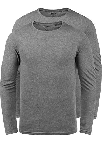 !Solid Basal Herren Longsleeve Langarmshirt Shirt Basic Aus 100{3ca6052c7818dbce0e8d46b6d97b2741845c4c7756f56779359f5ec4119d3ab7} Baumwolle Mit Rundhalsausschnitt Im 2er Pack, Größe:L, Farbe:Grey Melange (8236)