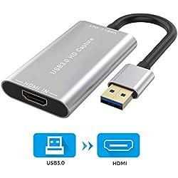 Raycue Vidéo Capture, Carte de Capture vidéo de Jeu USB 3.0 HDMI HD, 1080p Full HD 60FPS Full HD enregistreur de Streaming vidéo, Prise en Charge, Prise en Charge de Linux/Mac OS/Windows 10/7 / XP