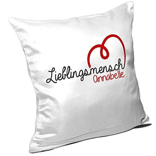 Kissen mit Namen Annabelle und schönem Lieblingsmensch-Motiv zum Valentinstag - Namenskissen - Kuschelkissen - Schmusekissen -