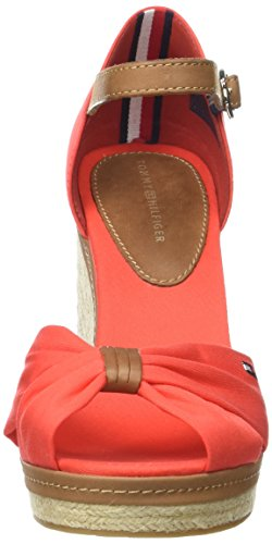 Tommy Hilfiger FW0FW00905, Espadrilles con Zeppa Donna Rosso (Fiery Red 617)