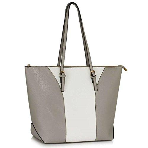 LeahWard Groß Damen Shopper Bag Taschen schönes Elegante Kunstleder Handtaschen (Weiß/Grau Shopper Bag)