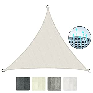 Sol Royal Tenda a vela traspirante 300x300x300 cm SolVision HS9 - protezione triangolare parasole e anti UV - crema