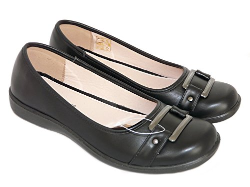 Cushion Walk Women's Black Faux Leather Slip-on Ballet Flats with Buckle Detail...