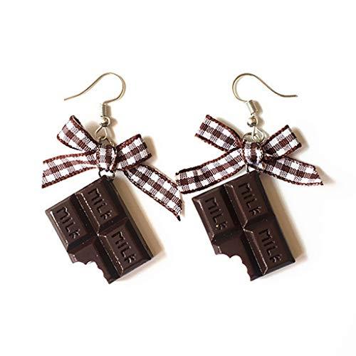 WDTong 1 Para Nette Mini Schokolade Donuts Bow Womens Ohrstecker, Minimalismus Cartoon Ohrbügel Baumeln Schmuck Geschenke -