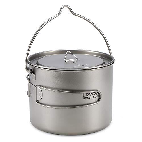 Lixada Titanium Topf Camping Tragbar Titan Wasser Tragbar Becher Tasse Klappgriff(300 ml,350 ml,420ml,550 ml,650 ml,750ml,900ml) (1600ml Hängende Tasse)