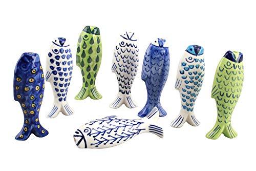 CGB Giftware Fisch Nautical Licht Pull Griff-Motive Sortiert-1-Weiß & Blau Keramik-Schnur Ziehen für Badezimmer Beleuchtung Jalousien Vorhänge Decken Fans