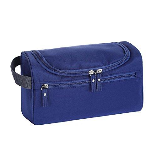 AOLVO Neceser colgante para hombre y mujer, kit de aseo para colgar de viaje, resistente al agua con bolsillos de malla y resistente gancho para colgar bolsa de ducha, azul marino, 25*14*15 CM