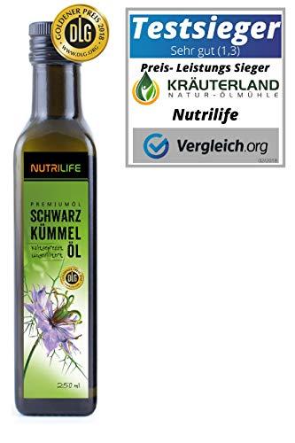 Nutrilife Schwarzkümmelöl, ungefiltert, kaltgepresst, 100% naturrein und naturbelassen, 250ml, Frischegarantie: täglich mühlenfrisch direkt vom Hersteller Kräuterland