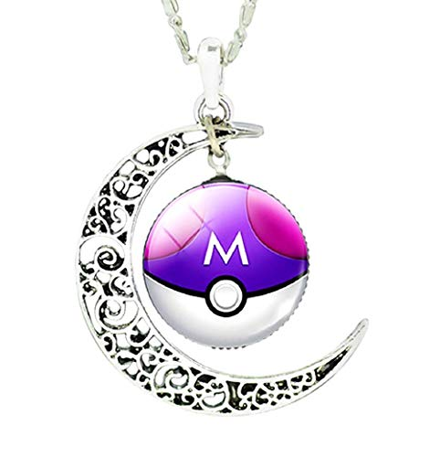 te Mnpkmn - Pokemon Go-Halskette Pokeball 'Pokeball mit Doppelmondanhänger und Cabochon in 7 Farben (Lila - Weiß) ()