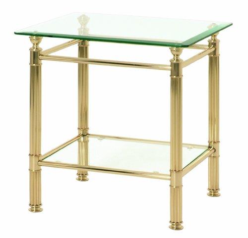 Haku Möbel Beistelltisch eckig - Stahlrohr vergoldet - 2 Ablagen Höhe 53 cm -