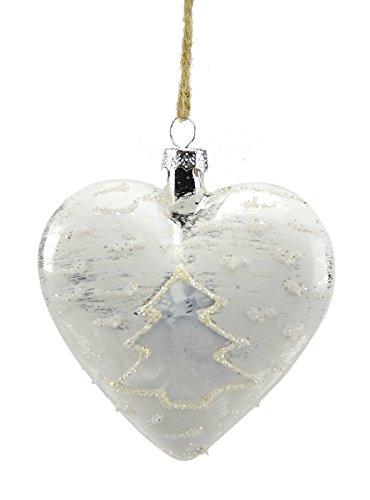 Boule en verre cœur blanc cm.10