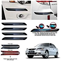 CSC CRAFT Rubber Car Bumper Protector Guard with Double Chrome Strip for Car 4Pcs - Black (for Hyundai Accent Viva)