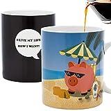 InGwest Home Kaffeetasse mit Schweinchen-Motiv Tasse Schwein am Strand! Tasse mit wechselnden Farben. Hitzeempfindliche Tasse.