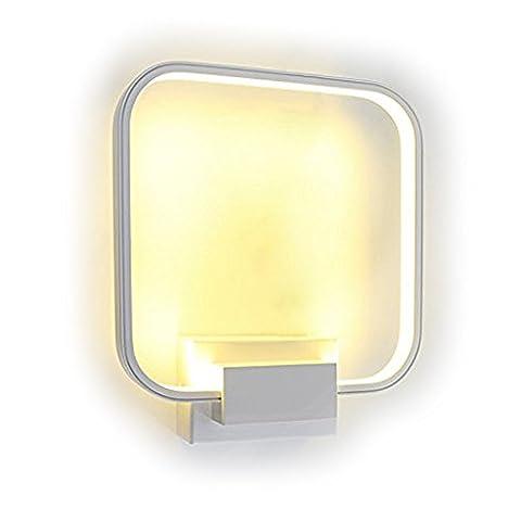 Lightess Applique Murale Interieur LED Lampe de Mur Moderne Carré 14W en Aluminium Eclairage Décoratif Lumiere Interieur pour Chambre Maison Couloir Salon - Blanc