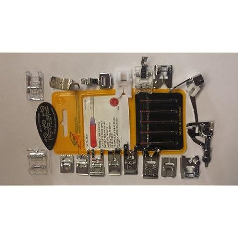 Máquina de Coser Pies y de la Aguja Incluye Pie para Dobladillo Ciego, para Coser en Satén, Pie para Bordado, Pie Quilt, Pie para Sobrehilado, Cordones Pie, Pie Recopilación, 2 Paquetes de Agujas Alemanes - el Acolchar, Bordar y Agujas Regulares. (Pies Encajar 99% de las Máquinas de Coser
