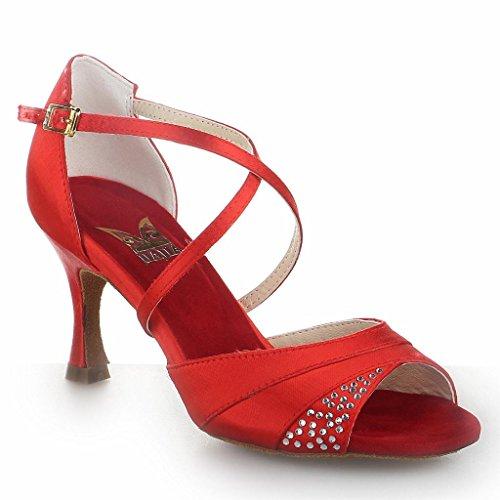 Jia Jia 20522 Damen Sandalen Ausgestelltes Heel Super-Satin mit Strass Latein Tanzschuhe Rot , 37