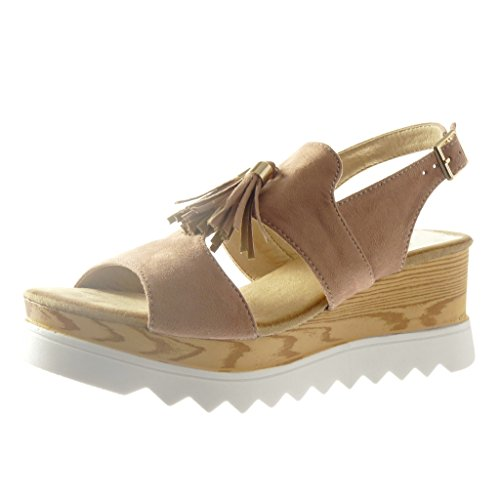 6 Frange Bois Femme Plateforme Sandale Chaussure Cm Ouverte Pom Mode paadxrw